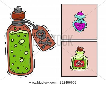 Bottle With Potion Game Magic Glass Cards Elixir Poisoning Toxic Substance Dangerous Toxin Drug Cont