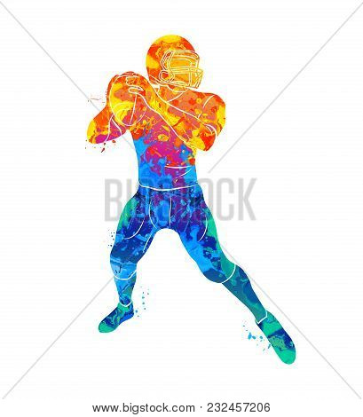 Abstract American Football Player From Splash Of Watercolors. Vector Illustration Of Paints.