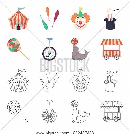 Lollipop, Trained Seal, Snack On Wheels, Monocycle.circus Set Collection Icons In Cartoon, Outline S