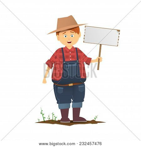 A Young Guy In A Farmer Hat And With A Sign In Hand. A Fat Farmer. Chubby Young Farmer. The White Pi