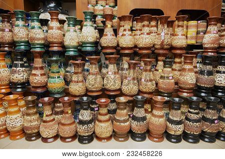 Kuching, Malaysia - August 27, 2009: Tribal Motives Decoration At The Traditional Souvenirs In A Wor