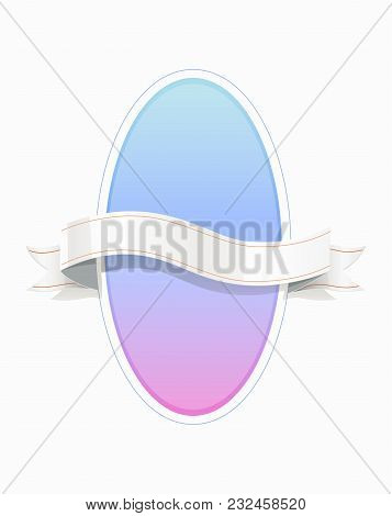 Decorative Oval Frame With Ribbon. Design Concept. Eps10 Vector Illustration.