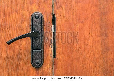 Door Handle With Lock On Wooden Door