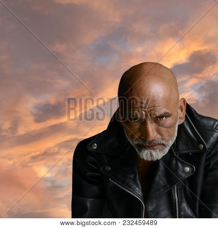 Very Powerful Image Of a Tough Guy in leather