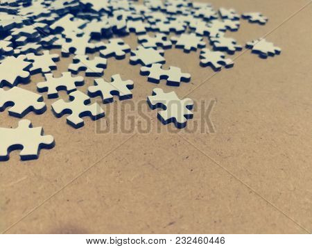 Jigsaw puzzle scattered