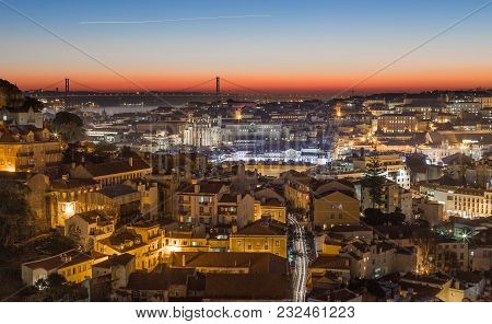 Lisbon Cityscape Panorama At Sunset Portugal Picture