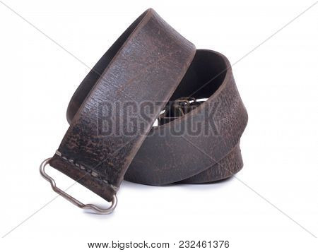 Old belt from Russian naval uniform on white background