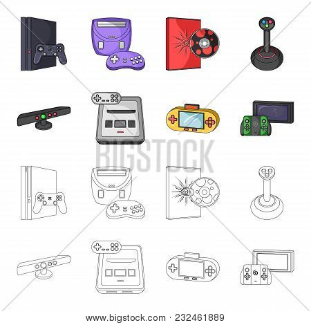 Game And Tv Set-top Box Cartoon, Outline Icons In Set Collection For Design.game Gadgets Vector Symb