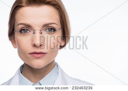 Beautiful Female Doctor Wearing Glasses Isolated On White