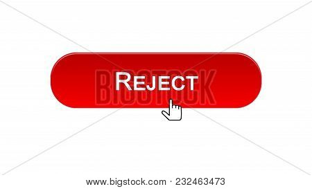 Reject Web Interface Button Clicked With Mouse Cursor, Red Color, Access Denied, Stock Footage