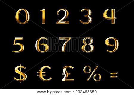 Vintage Font Yellow Gold Metallic Numeric Letters Word Text Series With Dollar, Percent, Symbol Sign