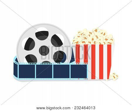 Elements Of The Film Industry. Film Strip Near Full Popcorn Box. Elements Of The Movie. Online Cinem