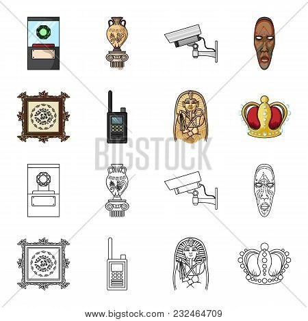 Picture, Sarcophagus Of The Pharaoh, Walkie-talkie, Crown. Museum Set Collection Icons In Cartoon, O