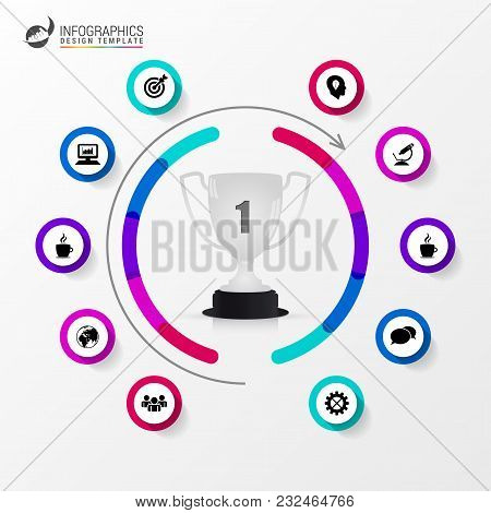 Organization Chart With Trophy And Icons. Infographic Design Template. Vector Illustration