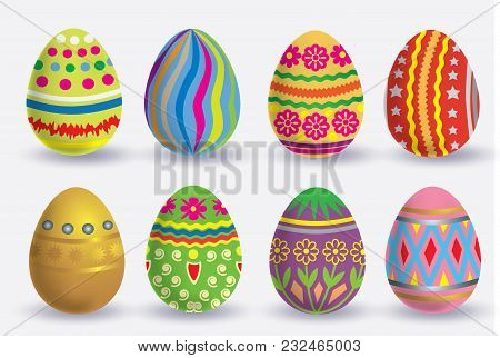Easter Egg Icon Set. The Vector Illustration Isolated On White Background.
