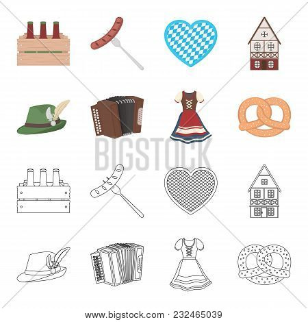 Tyrolean Hat, Accordion, Dress, Pretzel. Oktoberfest Set Collection Icons In Cartoon, Outline Style