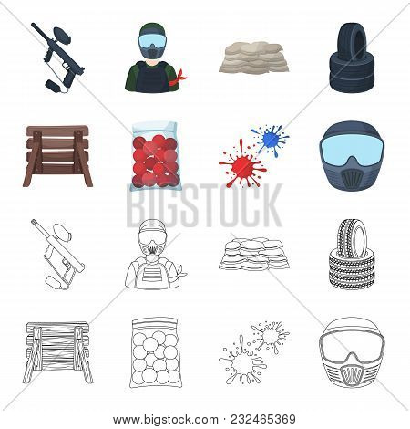 Wooden Barricade, Protective Mask And Other Accessories. Paintball Single Icon In Cartoon, Outline S