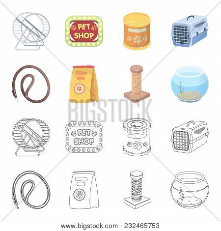 Leash, Feed And Other Zoo Store Products.pet Shop Set Collection Icons In Cartoon, Outline Style Vec