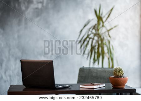 Work On Laptop Computer. Clean Scene Of The Desk In Office Or Room.