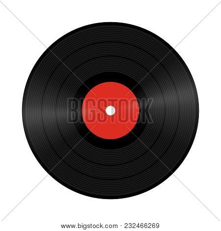 A Realistic Illustration Of Vinyl Record. Old Music Disk. A Record For A Gramophone. Listen Music. V