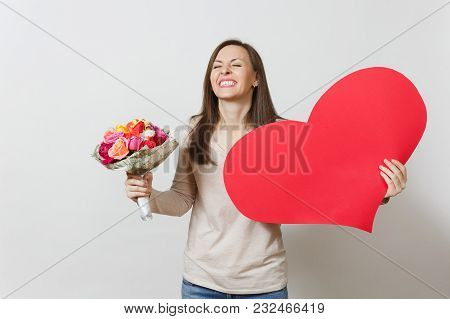 Young Pretty Woman Holding Big Red Heart, Bouquet Of Beautiful Roses Flowers On White Background. Co