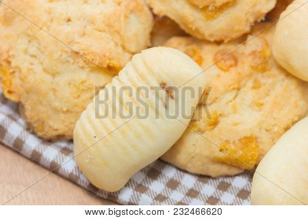 Pineapple Cookies And Oatmeal Cookies On Wooden Plate