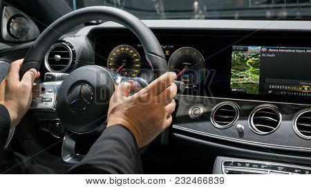 Geneva, Switzerland - March 7, 2018: Interior Dashboard View Of The New Mercedes Benz E300 Diesel Hy