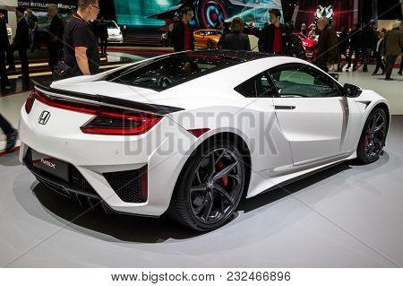 Geneva, Switzerland - March 7, 2018: Honda Nsx Sports Car Showcased At The 88th Geneva International