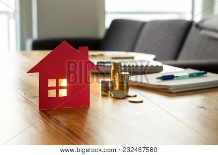 Savings For Home, Buying Houses, Real Estate Or Housing Benefit Concept. Counting Money For Rent, Mo