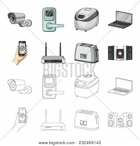 Home Appliances And Equipment Cartoon, Outline Icons In Set Collection For Design.modern Household A