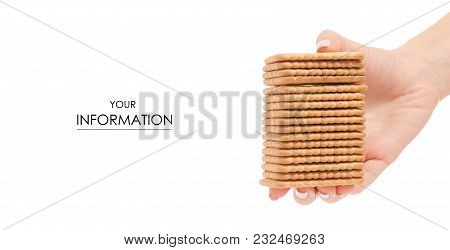 Cookies Candy Delicious In Hand Pattern On White Background Isolation