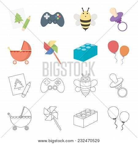 Stroller, Windmill, Lego, Balloons.toys Set Collection Icons In Cartoon, Outline Style Vector Symbol