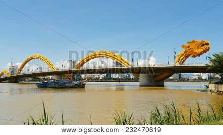 Dragon Bridge In Danang City. Vietnam. Shot In 4k - 3840x2160, 30fps