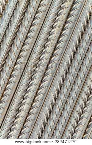 Steel Reinforcing Bars Rods With Periodic Profile, Laid Parallel To The Diagonal. Industrial Abstrac