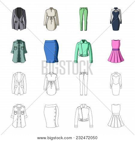 Women Clothing Cartoon, Outline Icons In Set Collection For Design.clothing Varieties And Accessorie