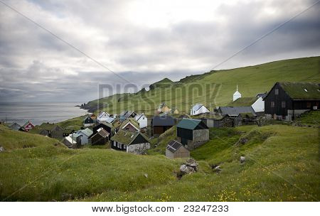 Houses in the village of the Island Mykines, Faroe Islands
