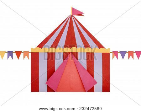 Circus Tent Origami Paper, Isolated On A Hite Background