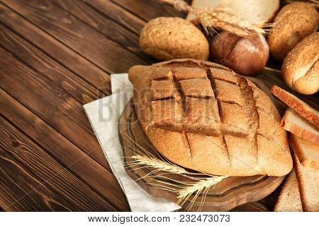 Freshly baked bread products on table