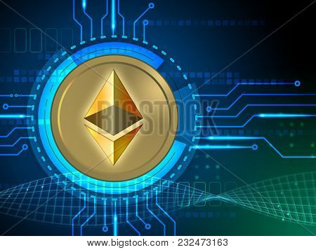 Ethereum symbol over a circuit board design. 3D illustration.