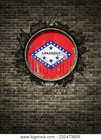 3d Rendering Of An Arkansas State Flag Over A Rusty Metallic Plate Embedded On An Old Brick Wall