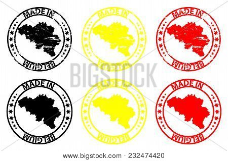 Made In Belgium - Rubber Stamp - Vector, Belgium Map Pattern - Black,yellow And Red