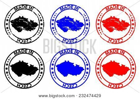 Made In Czech - Rubber Stamp - Vector, Czech Map Pattern - Black,blue And Red
