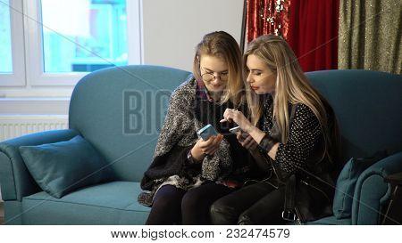 Women Friendship Bff. Girls Communication. Smartphone Browsing. Social Network Internet Addiction Li