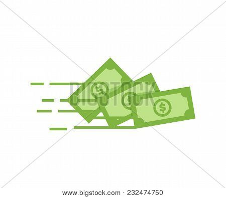 Money Vector Icon. Bank Note Dollar Bill Flying From Sender To Receiver. Design Illustration For Mon