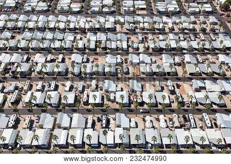 Mobile Home Park Almost Full From An Overhead Perspective