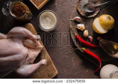 Ingredients For Cooking Chicken Curry On The Table Copy Space. Indian Food Horizontal