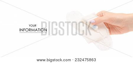 Female Hand Hygienic Tampon Pad Pattern On White Background Isolation