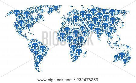 Continental Map Pattern Made Of Champignon Mushroom Design Elements. Vector Champignon Mushroom Item
