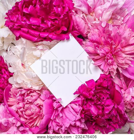 A Bouquet Of Peonies And A Note Inside. Spring Violet Flowers.