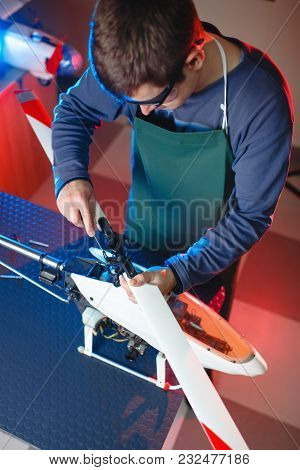 Young Male Engineer Or Technician Repair Drone Details